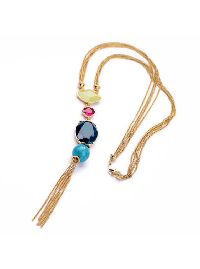 Fashion Chic Oval Blue Gem Turquoise Tassel Long Pendant Necklace (5)