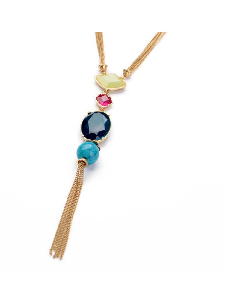 Fashion Chic Oval Blue Gem Turquoise Tassel Long Pendant Necklace (6)