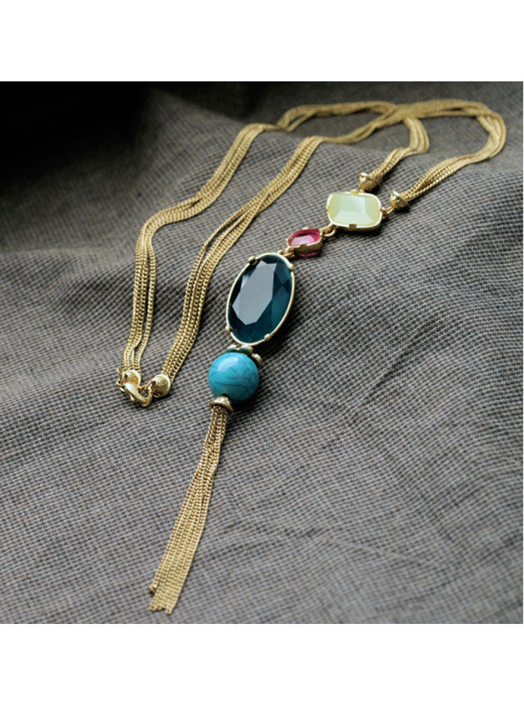 Fashion Chic Oval Blue Gem Turquoise Tassel Long Pendant Necklace