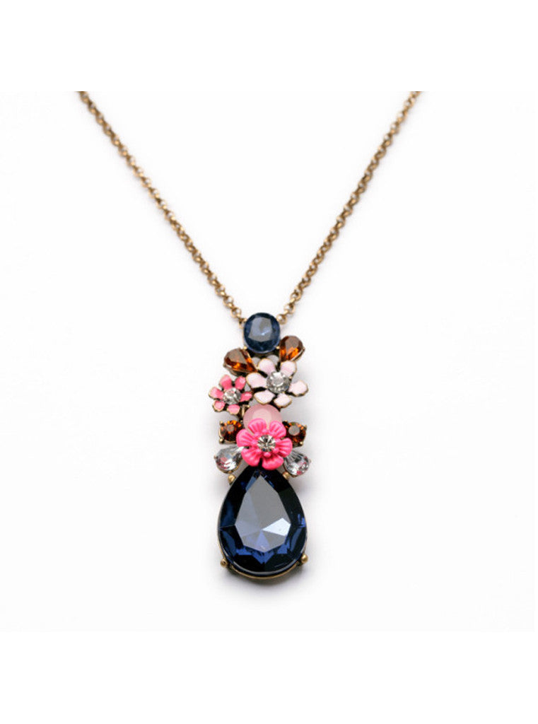 Fashion Chic Dark Blue Waterdrop Gem Flower Sweater Pendant Necklace