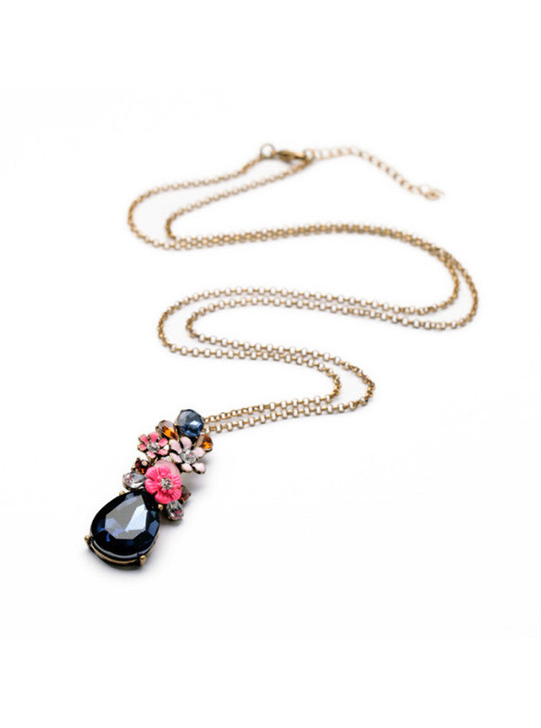 Fashion Chic Dark Blue Waterdrop Gem Flower Sweater Pendant Necklace (2)