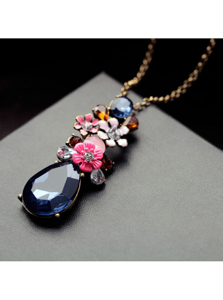 Fashion Chic Dark Blue Waterdrop Gem Flower Sweater Pendant Necklace (1)