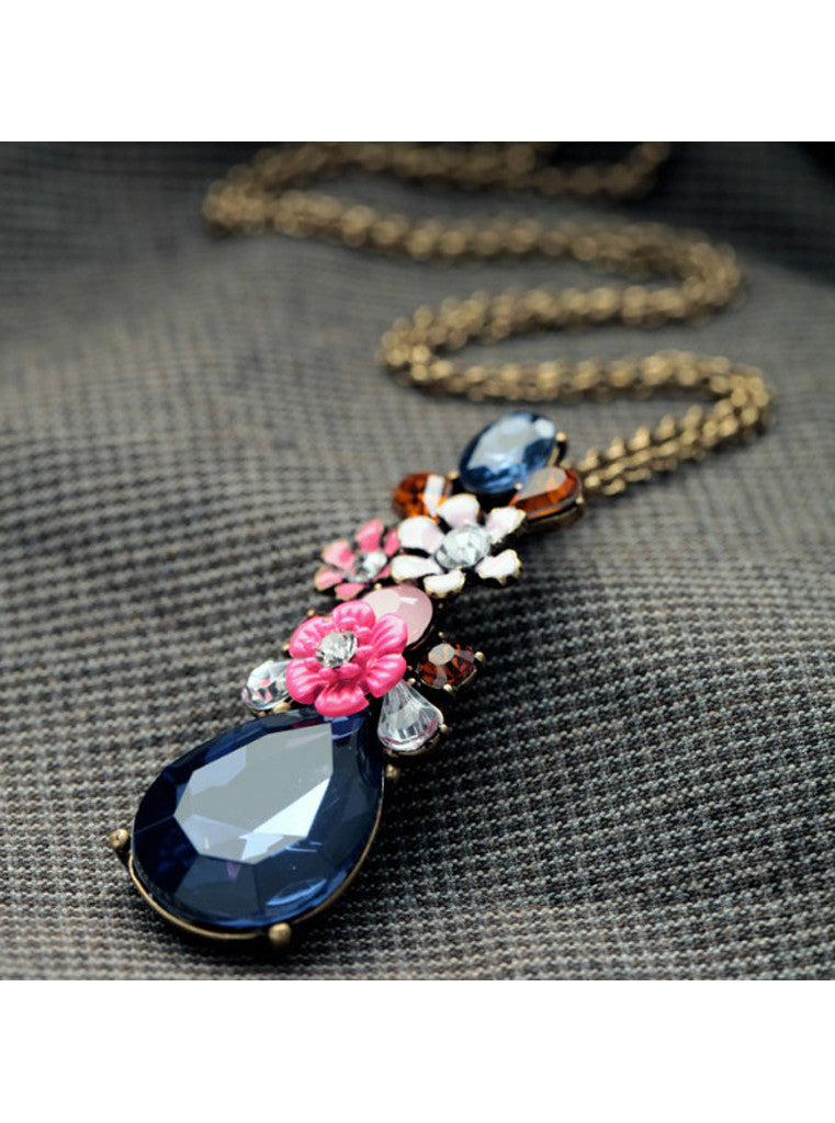 Fashion Chic Dark Blue Waterdrop Gem Flower Sweater Pendant Necklace (7)