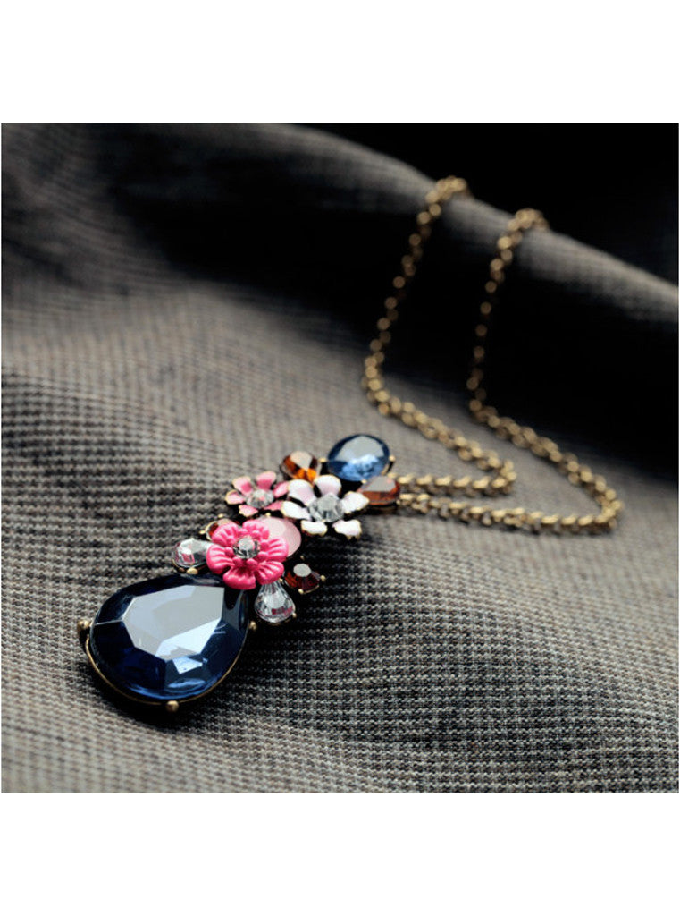 Fashion Chic Dark Blue Waterdrop Gem Flower Sweater Pendant Necklace (3)