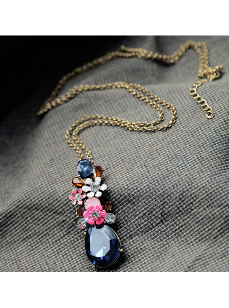 Fashion Chic Dark Blue Waterdrop Gem Flower Sweater Pendant Necklace (4)