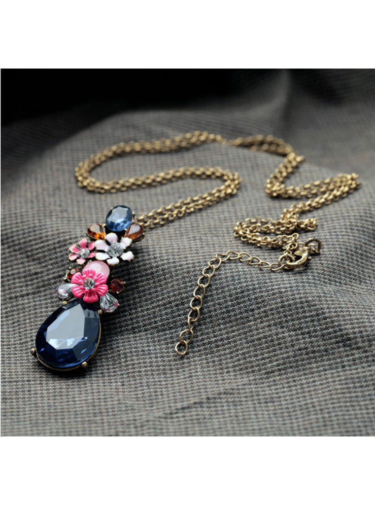 Fashion Chic Dark Blue Waterdrop Gem Flower Sweater Pendant Necklace (5)