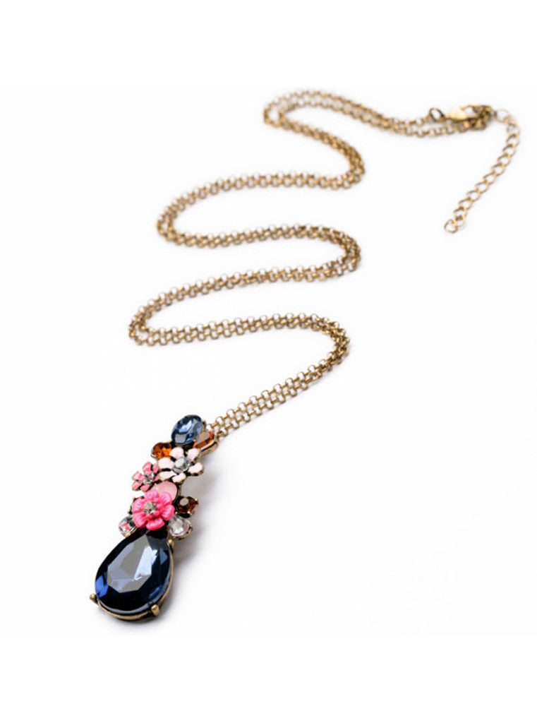 Fashion Chic Dark Blue Waterdrop Gem Flower Sweater Pendant Necklace (8)