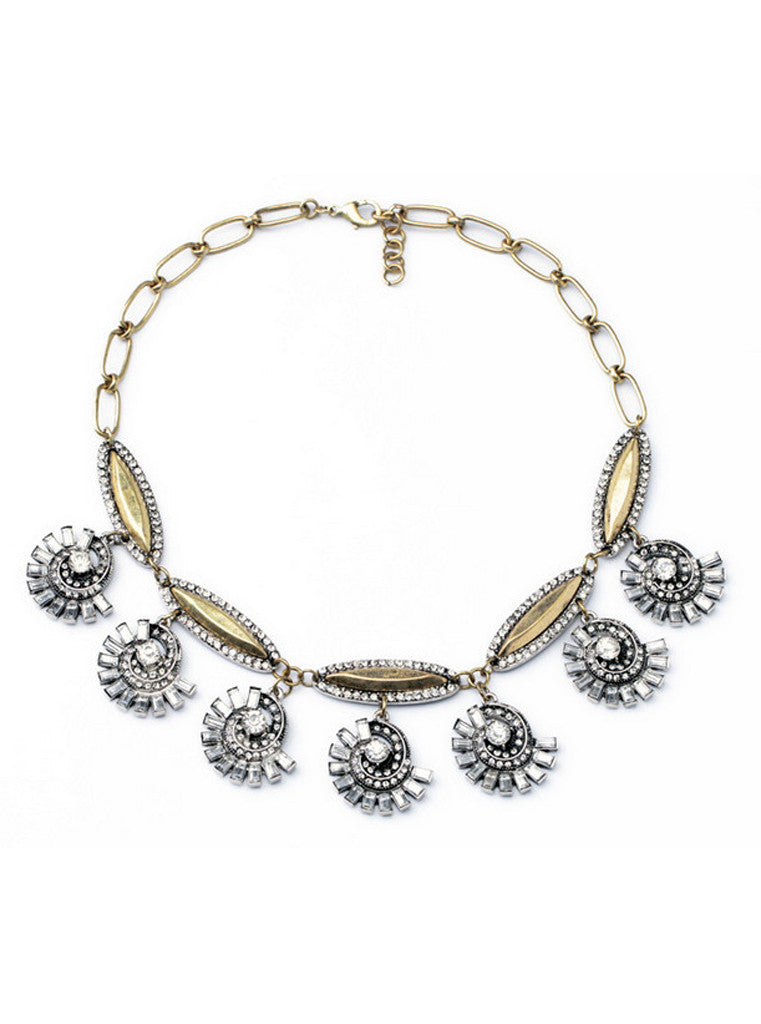 Vintage Crystal Rhinestone Flower Sweater Necklace
