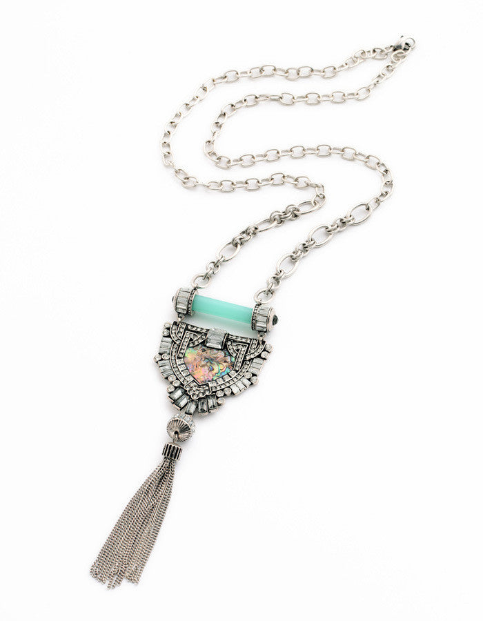 Silver Rhinestone Blue Geometric Long Tassel Pendant Necklace
