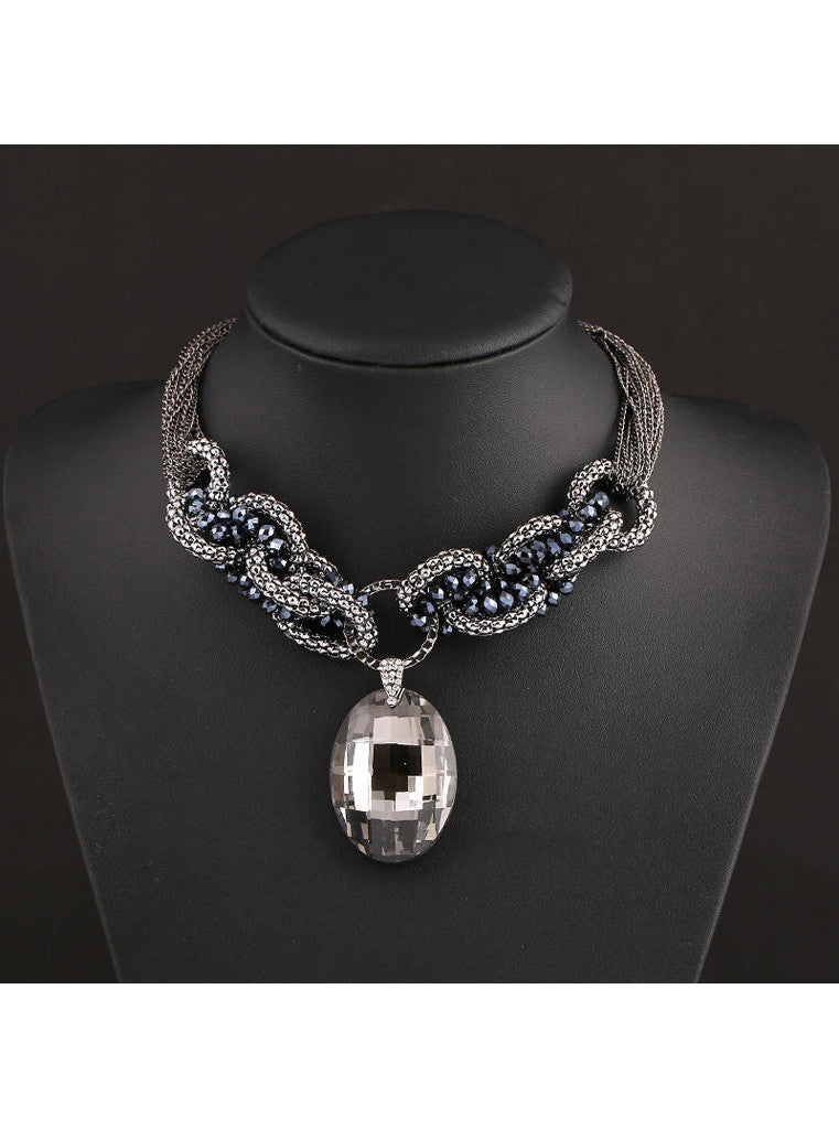 Multichain clear crystal pendant necklace