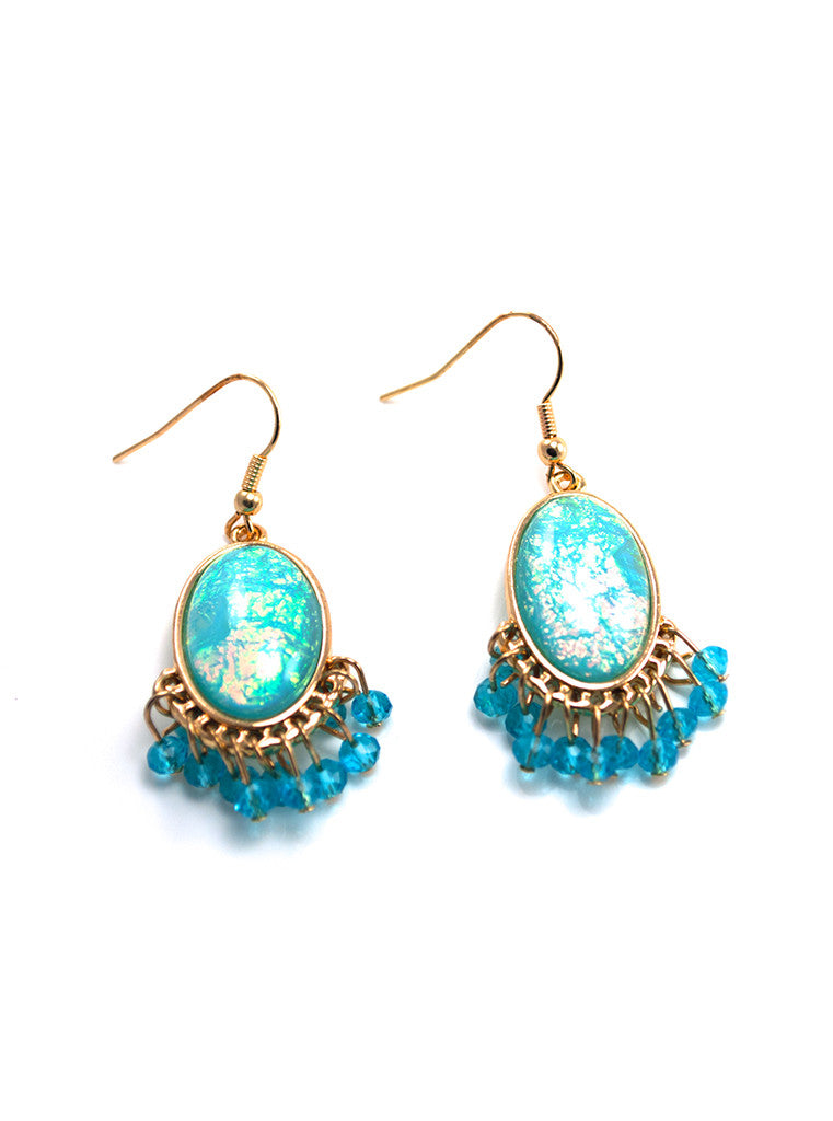 Sea Blue Beads Dangle Earrings
