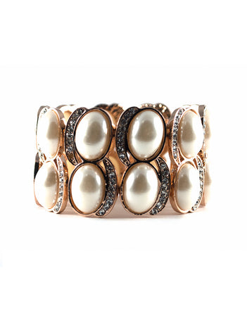 Faux Pearl and Crystal Stretch Bracelet