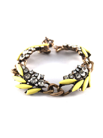 Hot Neon Yellow Leaf Statement Bracelet