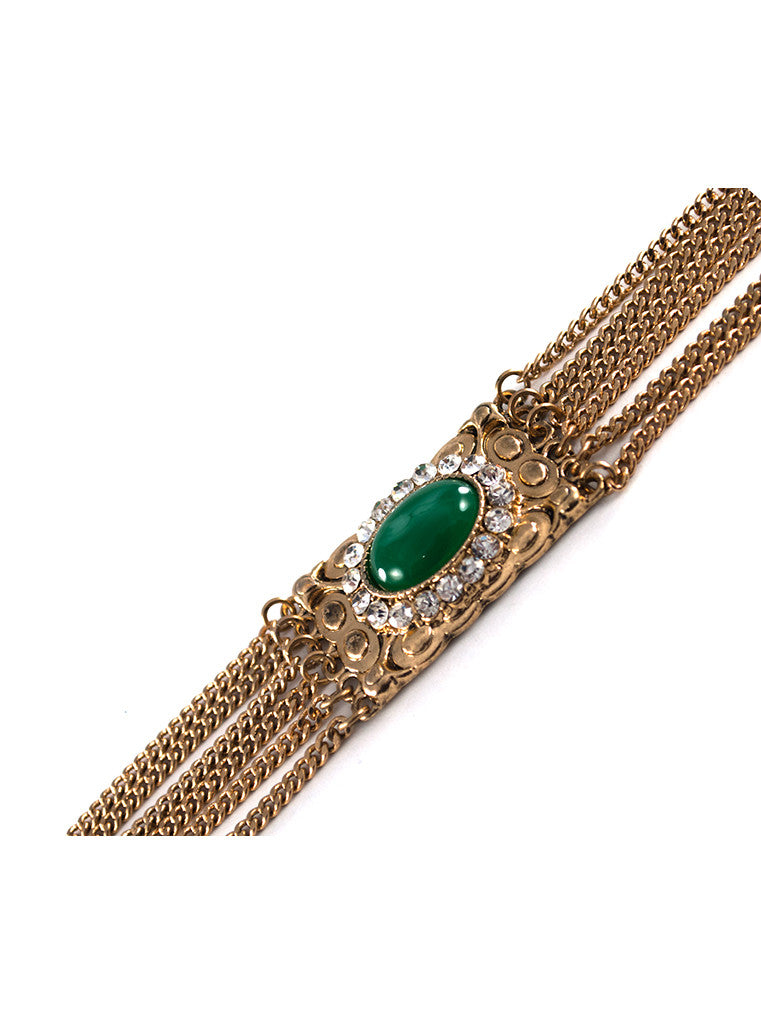 MultiStrand Green Gem Bracelet