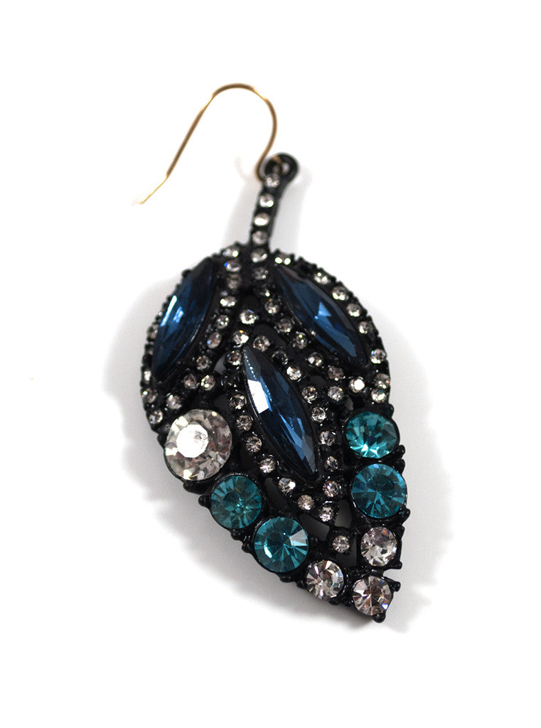 Black Crystal Leaf Design Drop Earrings
