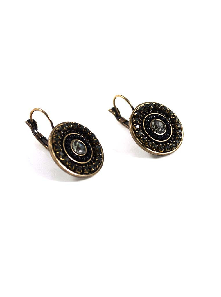 Antique Black Round Hook Earrings