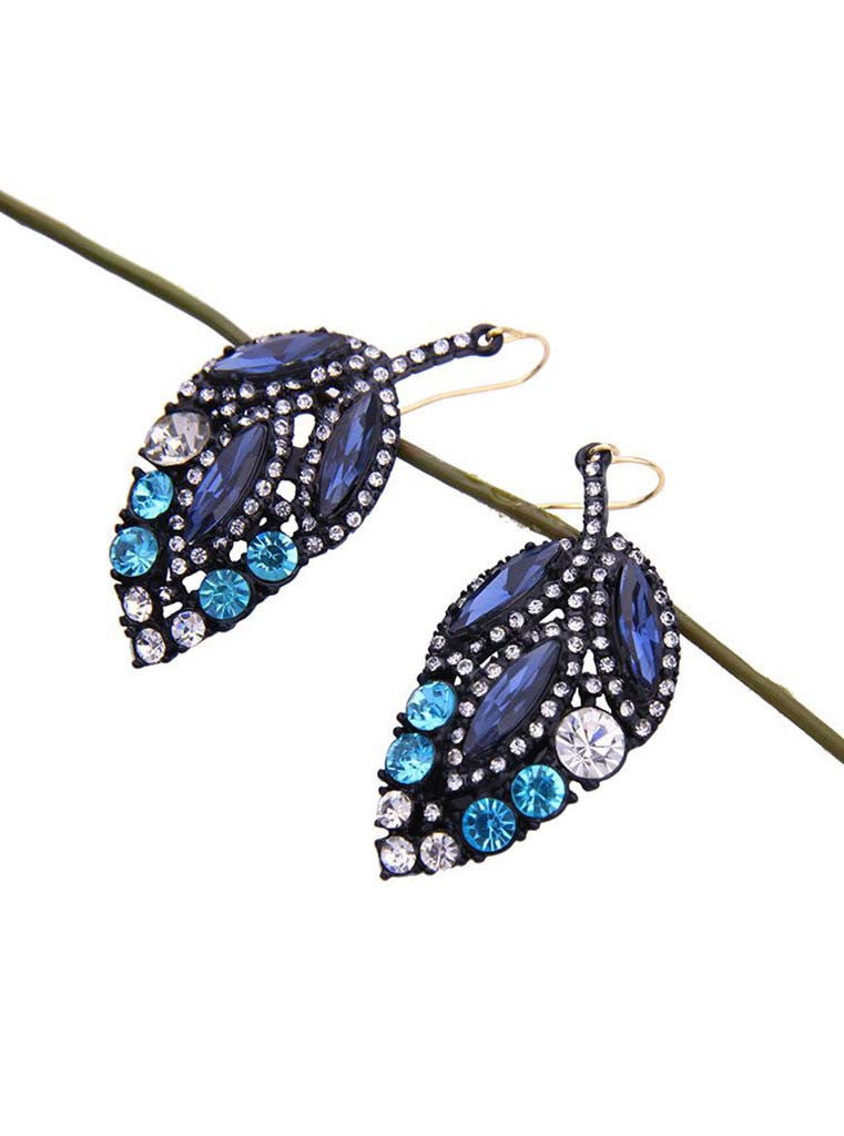 Black Crystal Leaf Design Drop Earrings (1)