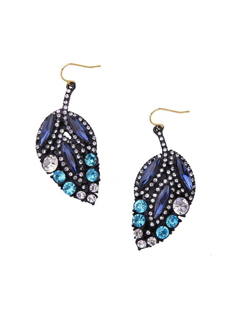 Black Crystal Leaf Design Drop Earrings (5)