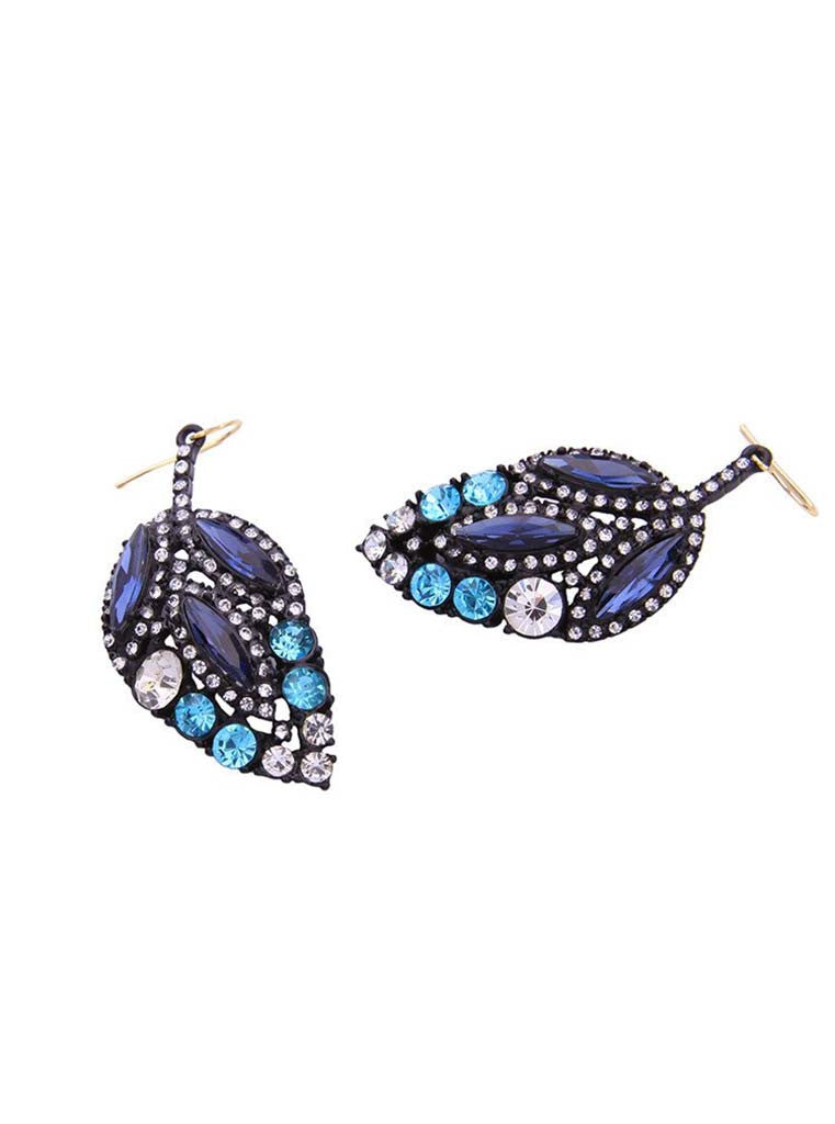 Black Crystal Leaf Design Drop Earrings (3)