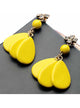 Yellow beaded drop earrings