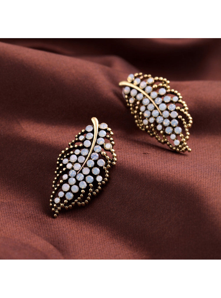 Vintage Rhinestone Statement Big Leaf Stud Earrings