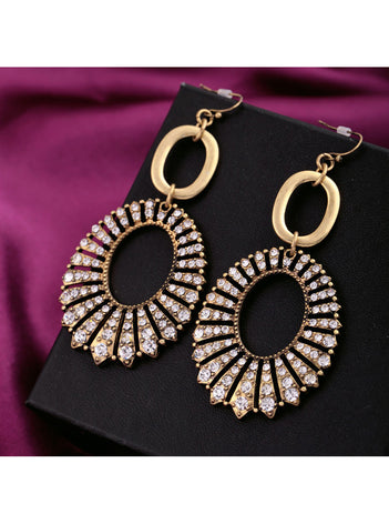 Vintage Big Rhinestone Circle Long Statement Dangle Earrings