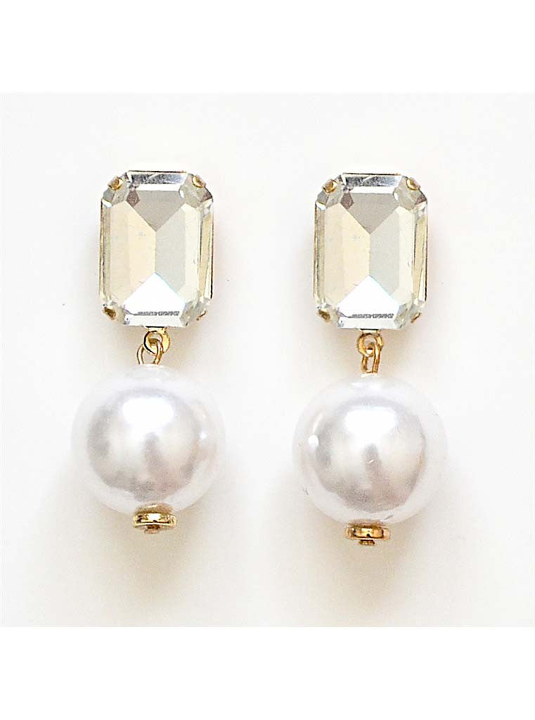 Crystal Post Faux Pearl Drop Earrings