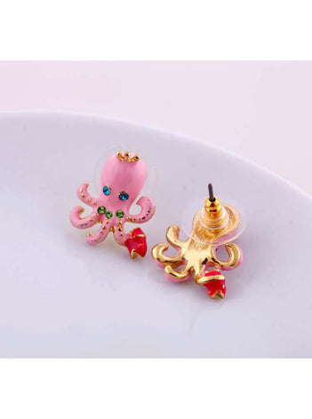 Cute Pink Octopus Stud Earrings