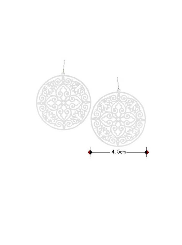 Hollow White Round Pendant Statement Earrings