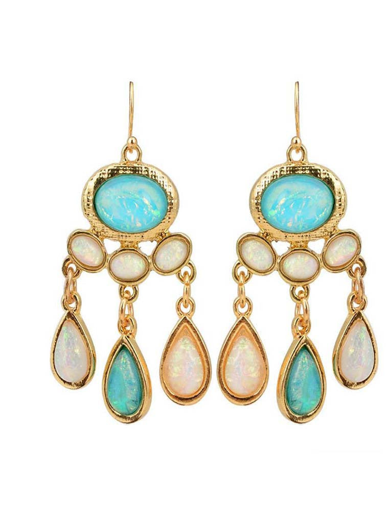 Blue Opal Chandelier Earrings