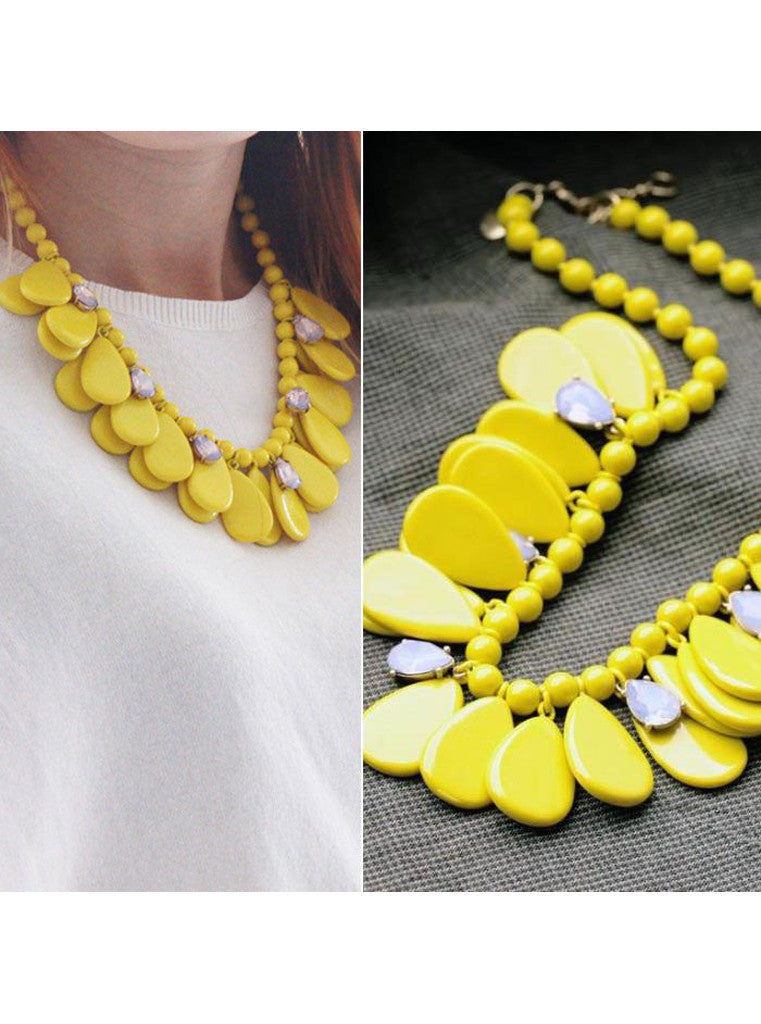 Yellow teardrop statement necklace