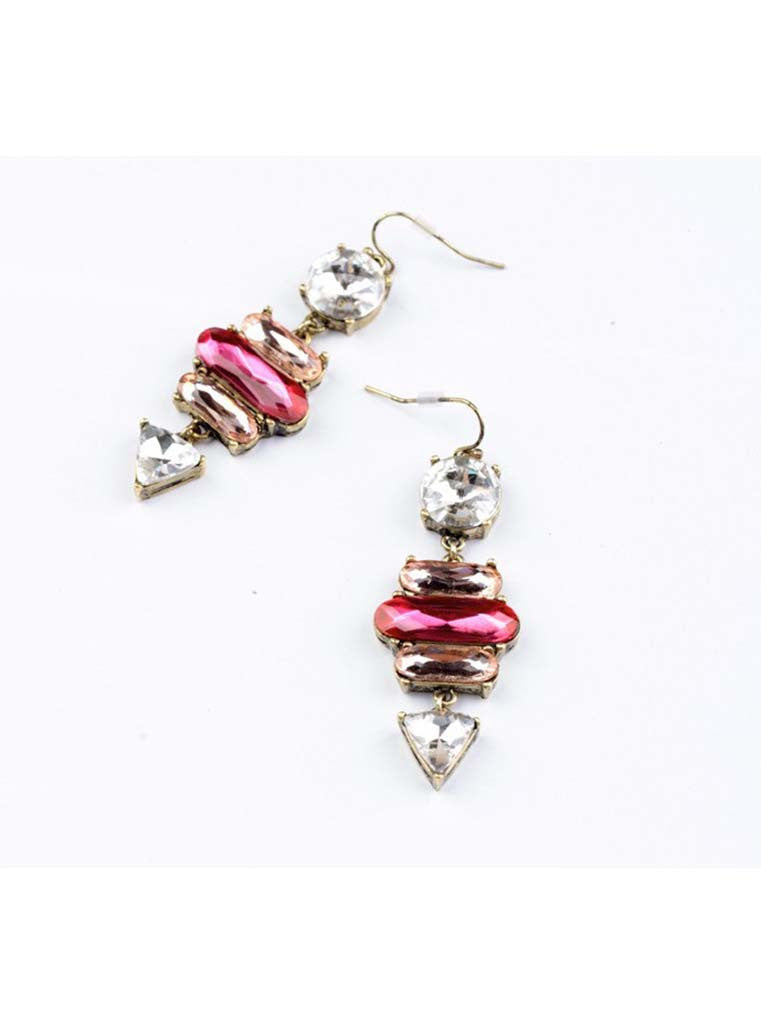 Sparkling Pink Crystal Drop Earrings