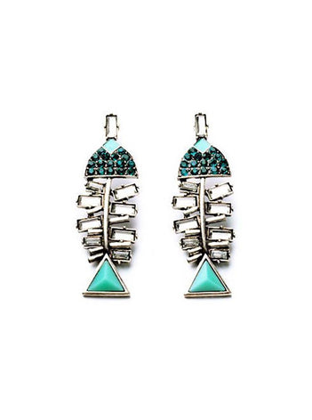 Blue Fish Statement Earrings