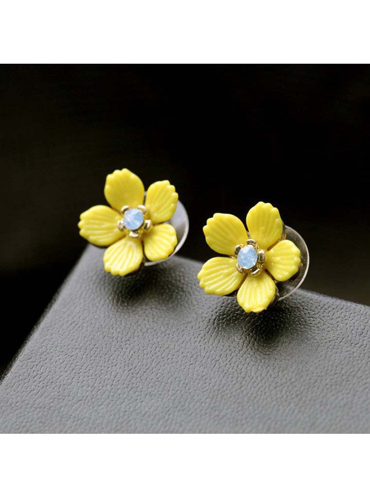Yellow Floweret Stud Earrings