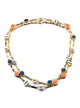 Orange beach blue long necklace