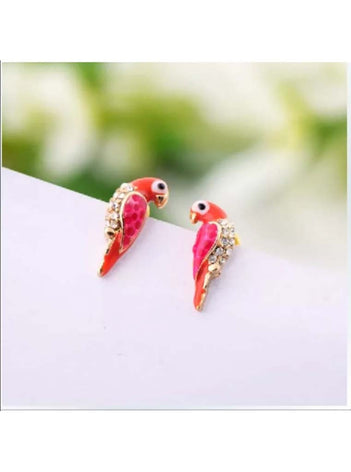 Tropical Red Parrot Stud Earrings