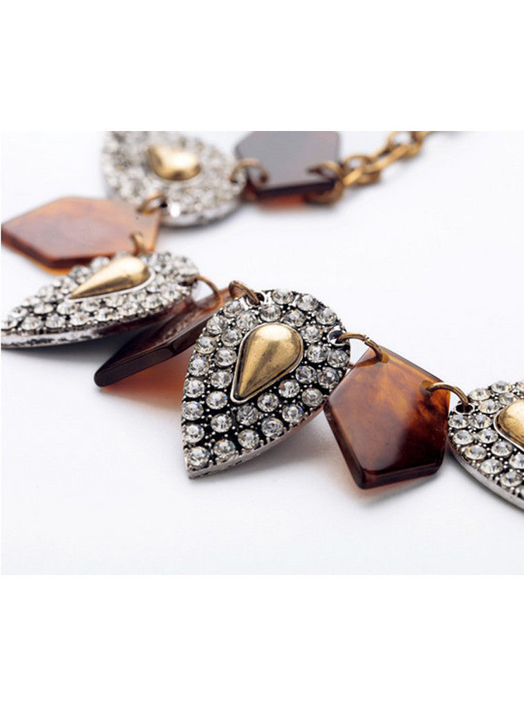Flat beads stone drops necklace