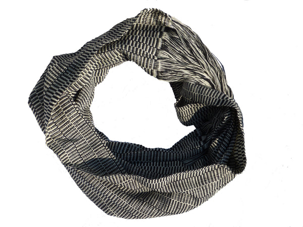 Hand Woven Kayan Infinity Scarf - Black/White