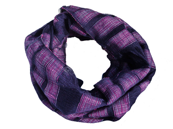 Hand Woven Kayan Infinity Scarf - Shades of Purple