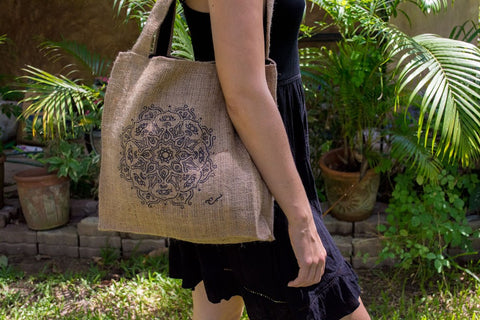 Brazilian Lotus Burlap Bag