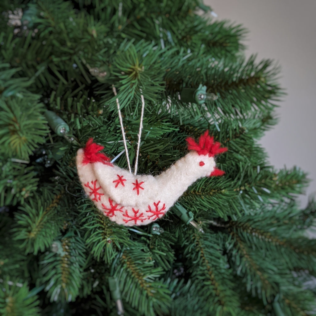 holiday hen ornament