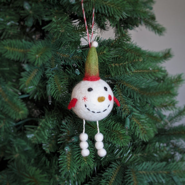 bobble snowman ornament