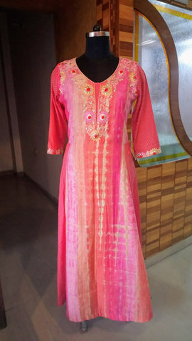 Peach 'n' Pink Embroidered Fusion Dress