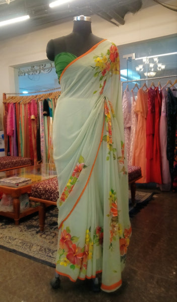 Hand Painted Sage Green Saree
