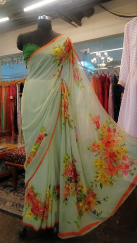 Pastel Green HandPainted Saree