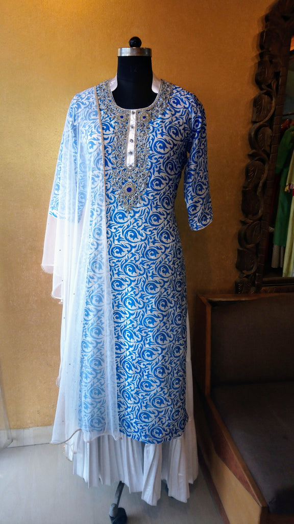 Blue n White Kurti with Gharara Tunic set