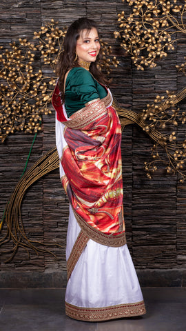 The Rajasthani Soiree - White Saree