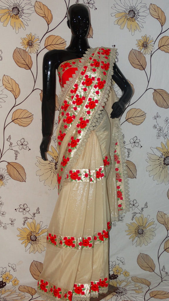 Rang Riwaaz Pure Georgette pale Golden Shimmer Saree - Embroidered Roses and Sequins with lace border RangRiwaaz