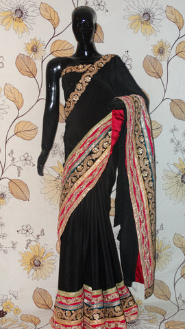Rang Riwaaz Pure Crepe Black Saree - very heavy multi-coloured zari and Sequins Border RangRiwaaz