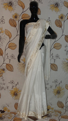 Rang Riwaaz Pure Crepe Silk and Shimmer White Saree - White Parsi embroidery Rose border RangRiwaaz